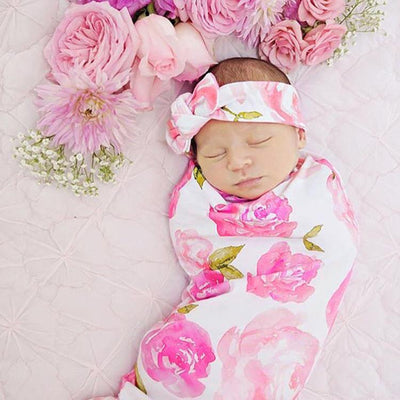 Newborn Cute Pink Flower Print Sleeping Bag Hat Set
