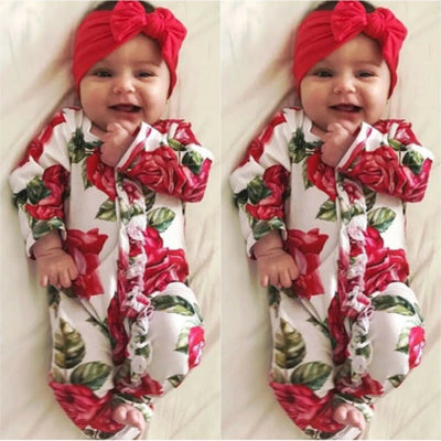2PCS Lovely Full Floral Printed Long-sleeve Baby Jumpsuit With Headband