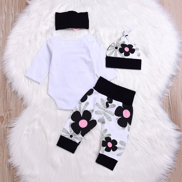 4PCs Newborn Kids Baby Girl Daddy Little Princess Romper +Pants + Hat + Headband