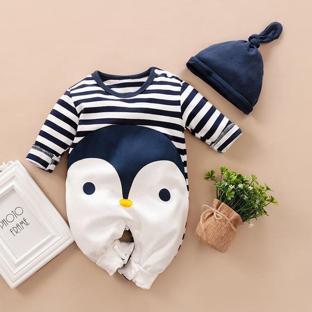 Striped Penguin Print Jumpsuit and Hat