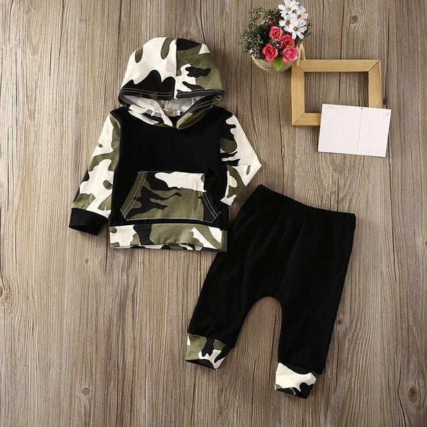 Infant Baby Boys Camouflage Hoodie Tops +Long Pants Outfits Set