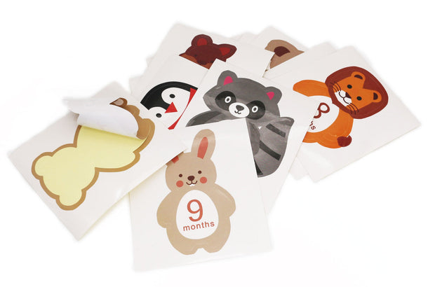 12-pack Resuable Animal Design Baby Monthly Milestone Stickers