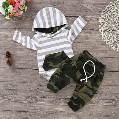 Baby Striped Camouflage Hooded Bodysuit and Drawstring Pants