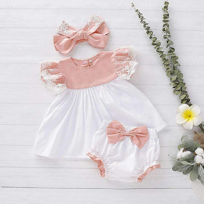3-piece Baby Lace Ruffled Floral Top & Bowknot Shorts & Headband