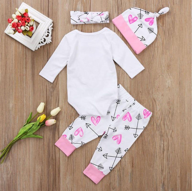 Baby Princess Letter Print Top + Pants + Headband