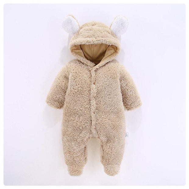 Baby 3D Bear Design Winter Hooded Jumpsuit