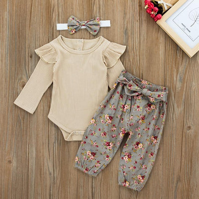 Baby Girl Lovely Bodysuit and Flower Pants Set