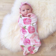 Lovely NewBorn Baby Floral Print Pajamas and Headband