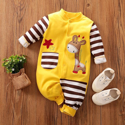 Baby Giraffe Pocket Design Jumpsuit