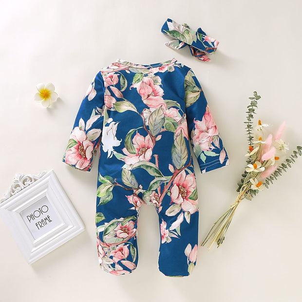 Baby Girl Lovely Floral Print Jumpsuit with Headband