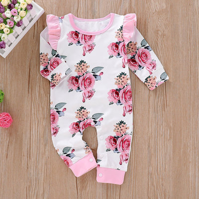 Lovely Floral Print Ruffle Baby Jumpsuit