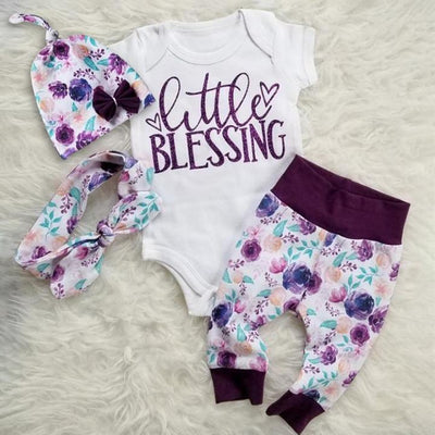 """Little Blessing""Letter Printed Romper With Floral Pants Baby Girl Set"