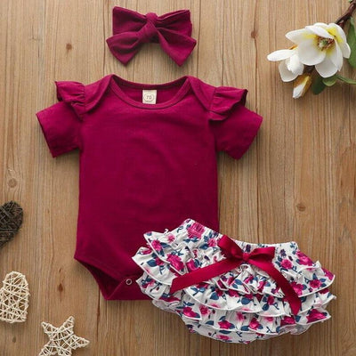 3PCS Cute Lotus Leaf Floral Printed Baby set