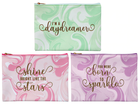"These adorable cosmetic bags come assorted among spa green ""I'm a daydreamer"", pink ""shine bright like the stars"", and purple ""you were born to sparkle""."