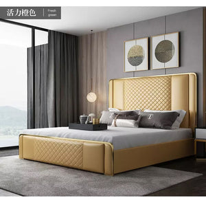 Luxury Modern High Quality Leather Bed