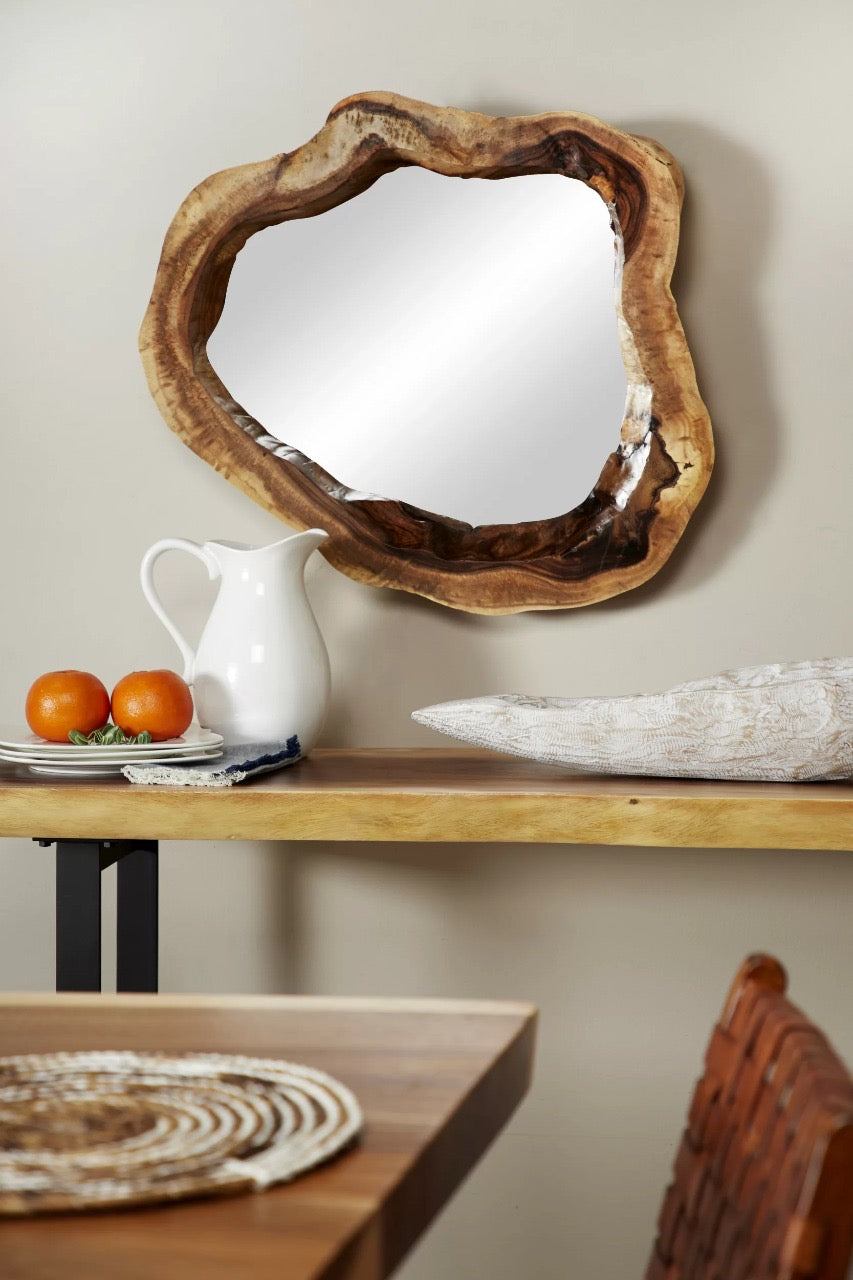 Teak Wood Accent Mirror