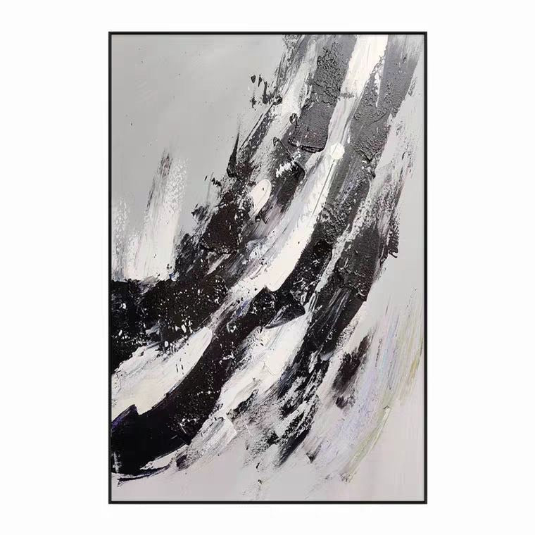 Abila - Black and White Striped Oil Painting