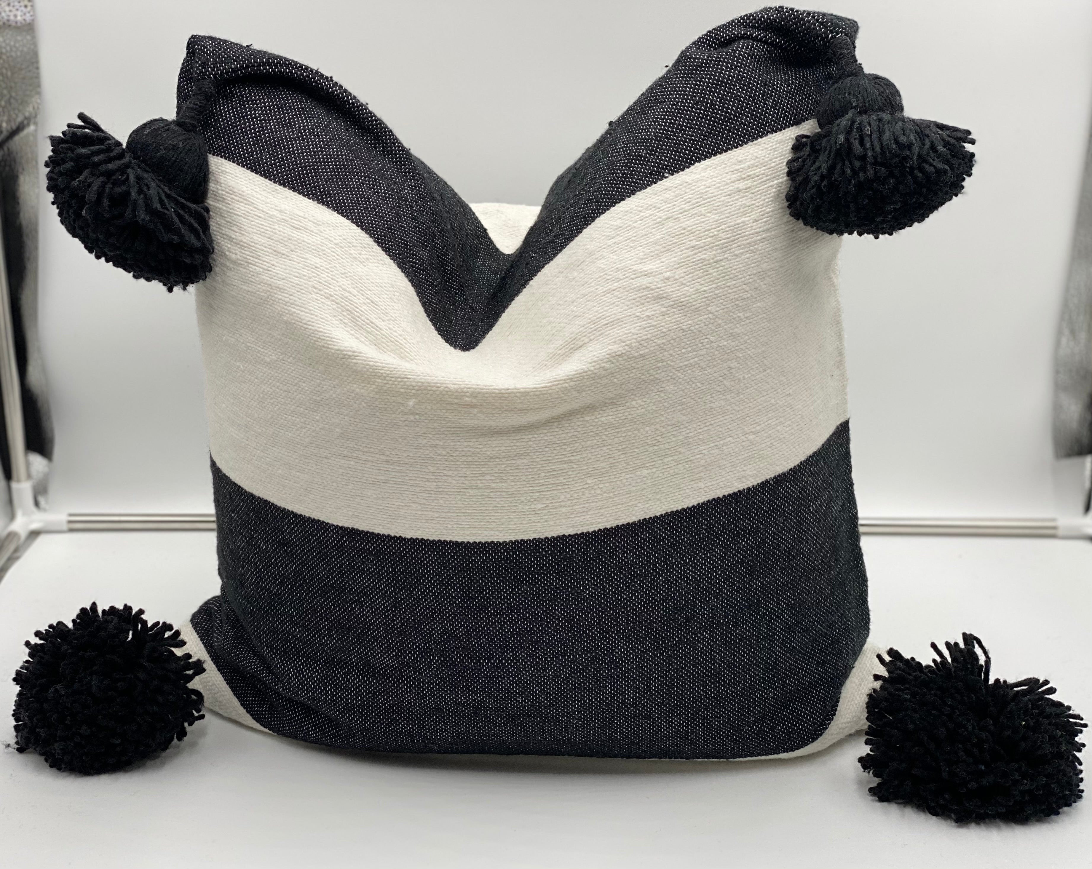 Rahisi - Moroccan Cotton Color Blocked Pom Pom Pillow