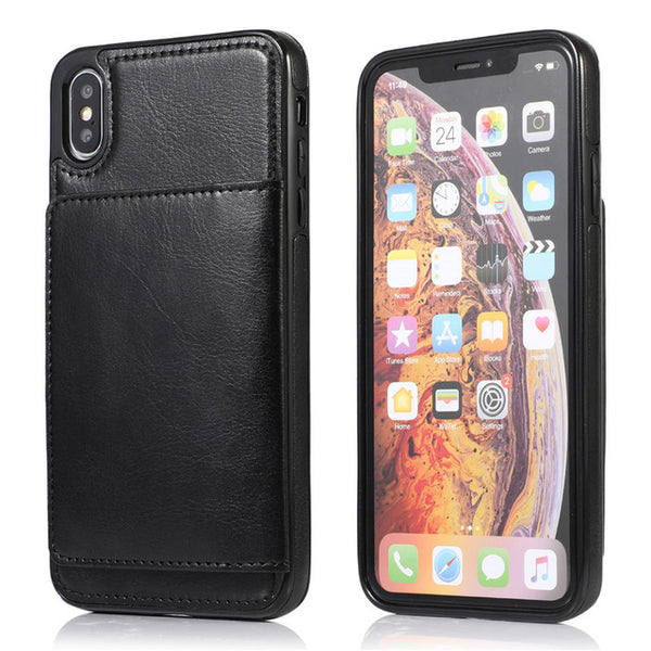 New Retro Leather Vintage Case Card Slot Phone Holder For iPhone XR XS X 7 8 11 Series