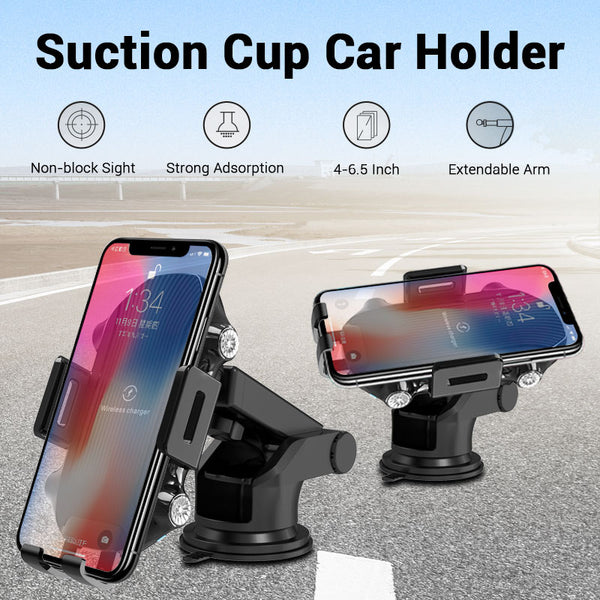 New 10W Fast Charging Wireless Charger Car Phone Holder Mount For iPhone Xs Max X Samsung