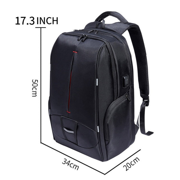 New 17 Inch Water-Resistant Collegiate Travel Work School Outdoors Backpack with Battery Slot for USB Charging