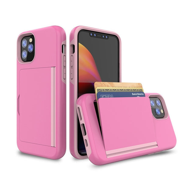 New Case Armor Card Slot Cover Fitted Bumper Case For iPhone 11 XS Max Series