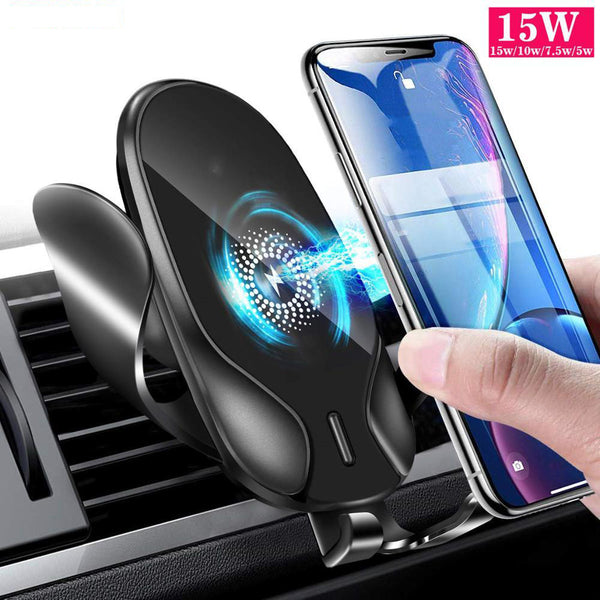 New 15W Fast Charging Wireless Charger Car Mount Holder For Samsung iPhone Smart Phones