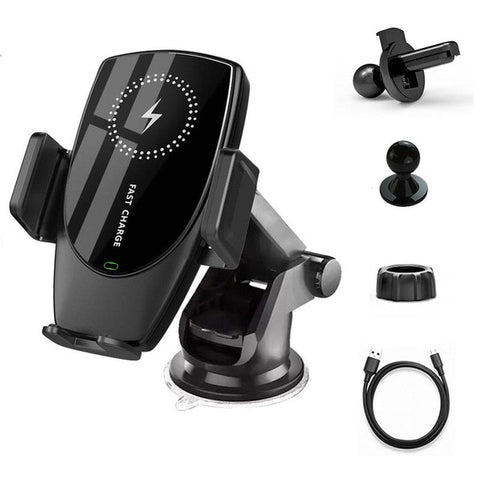 New 15W Car Mount Wireless Fast Charger Clamp Holder For Samsung iPhone Smart Phones