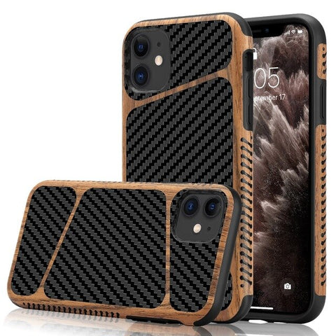 New Soft Silicone Carbon Fiber Wood-Textured Hybrid Slim Bumper Case For iPhone XS 11 Pro Max Series