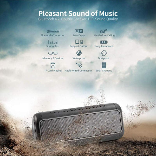 New Solar 5000Mah Power Bank Portable Wireless Bluetooth Stereo Speaker For iPhone Android