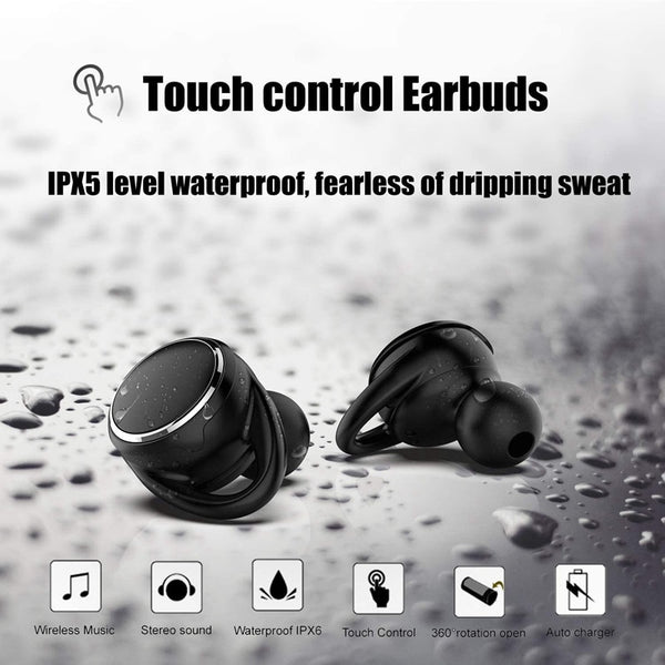 New HD Stereo TWS Bluetooth Headset Wireless Sports Sweatproof Earbuds With Case