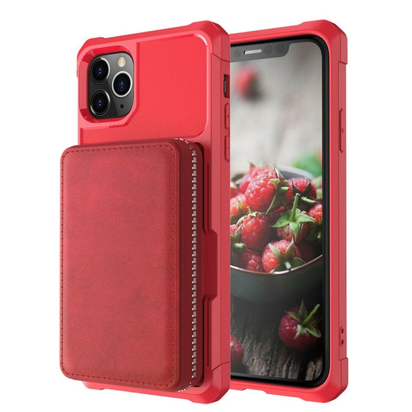 New Credit Card Hybrid Rubber Case Zipper Wallet Card Slot Cover For iPhone XR 8 11 XS SE 2020