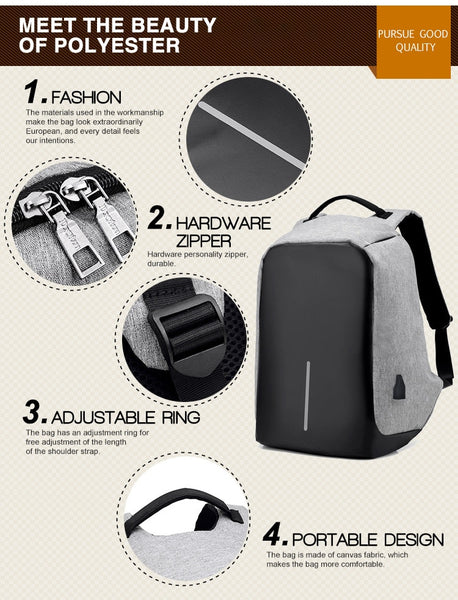 New 15 Inch Travel Backpack Multi-Functional Anti-Theft Water-Repellent Student Laptop Bag Backpack