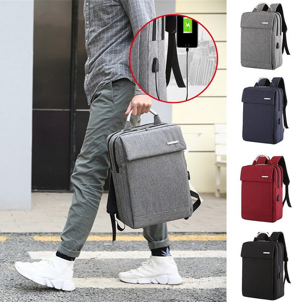 New Large Capacity Expandable Laptop Backpack USB Charging Business School Bag