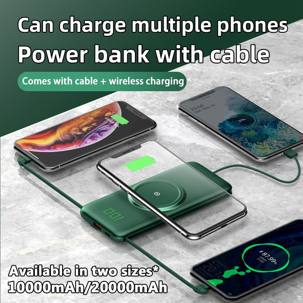New 20000 LED Display Wireless Portable Power Bank External Charger With 4 Built-In Cables