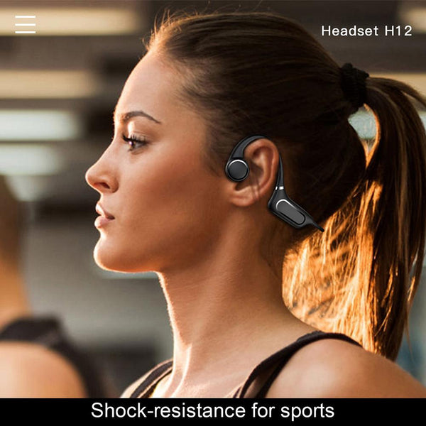 New Bluetooth IP55 Water-Resistant Bone Conduction Outdoor Sports Headset Headphones With Microphone