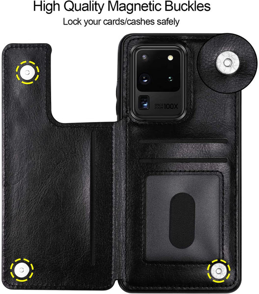 New Luxury Slim Fit Leather Flip Shell Case With Card Slots For Samsung Galaxy S10 S20 S21 Series