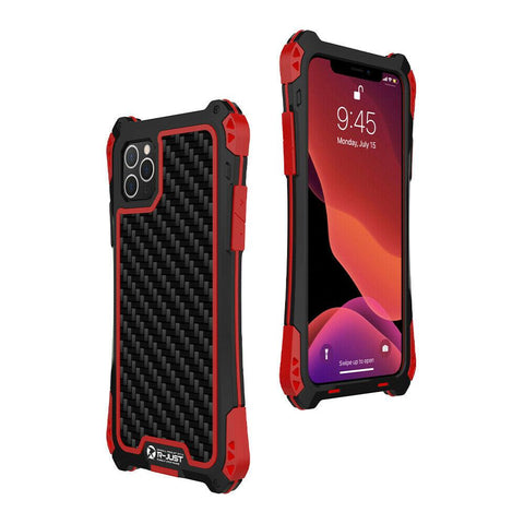 New Metal Aluminum Heavy Duty Armor Carbon Fiber Case For Galaxy S9 S10 iPhone 11 X XS Series