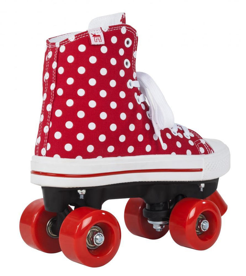 Rookie Rollerskates Canvas High, Polka Dots Red/White Quad Skates Rookie
