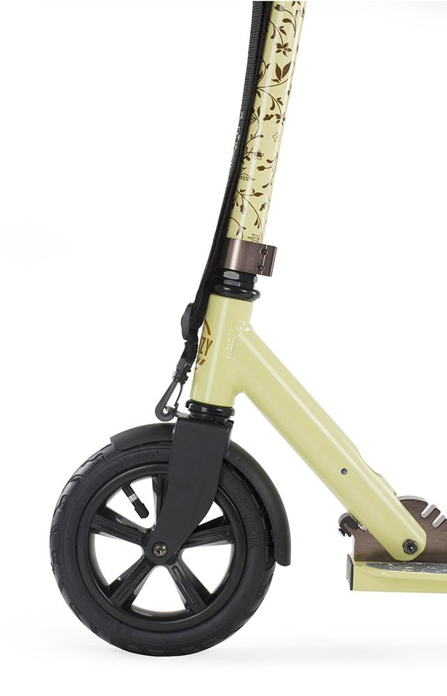 Frenzy Scooters 205mm Pneumatic Folding Scooter, Cream Stunt Scooter Frenzy Scooters