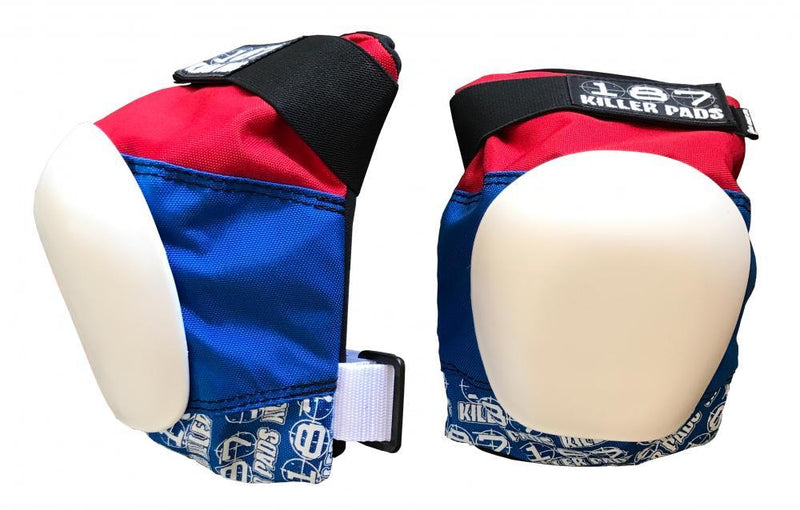 187 Killer Pads Pro Knee Pads, Red/White/Blue Protection 187