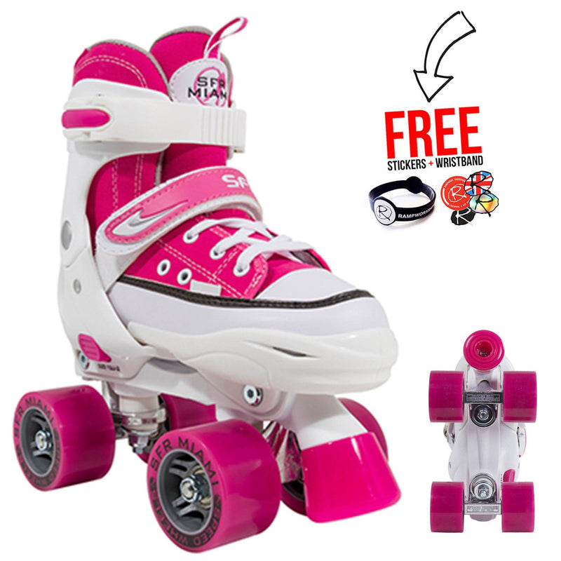 SFR Miami Junior Adjustable Quad Skates, Pink Kids Skates SFR