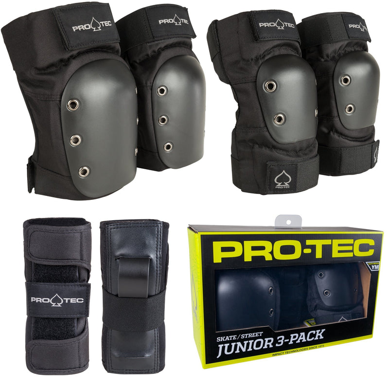 Pro-Tec Street Youth Junior Pad Set, Black/White Protection Pro Tec S Youth