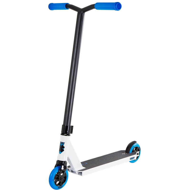 Lucky Scooters 2018 Crew Complete Stunt Scooter, White/Blue Complete Scooter Lucky