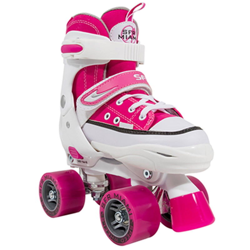 SFR Miami Junior Adjustable Quad Skates, Pink Kids Skates SFR UK3J-6J/EU35.5-39.5
