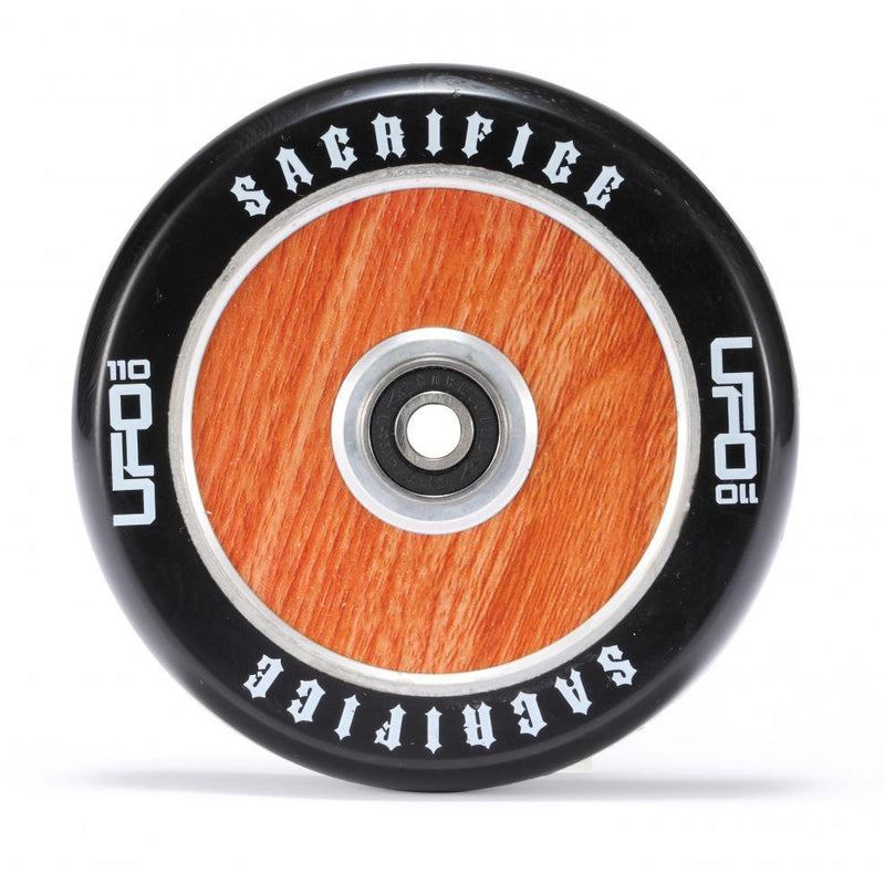Sacrifice Scooters UFO 120mm Stunt Scooter Wheel, Black/Woodgrain Stunt Scooter Sacrifice