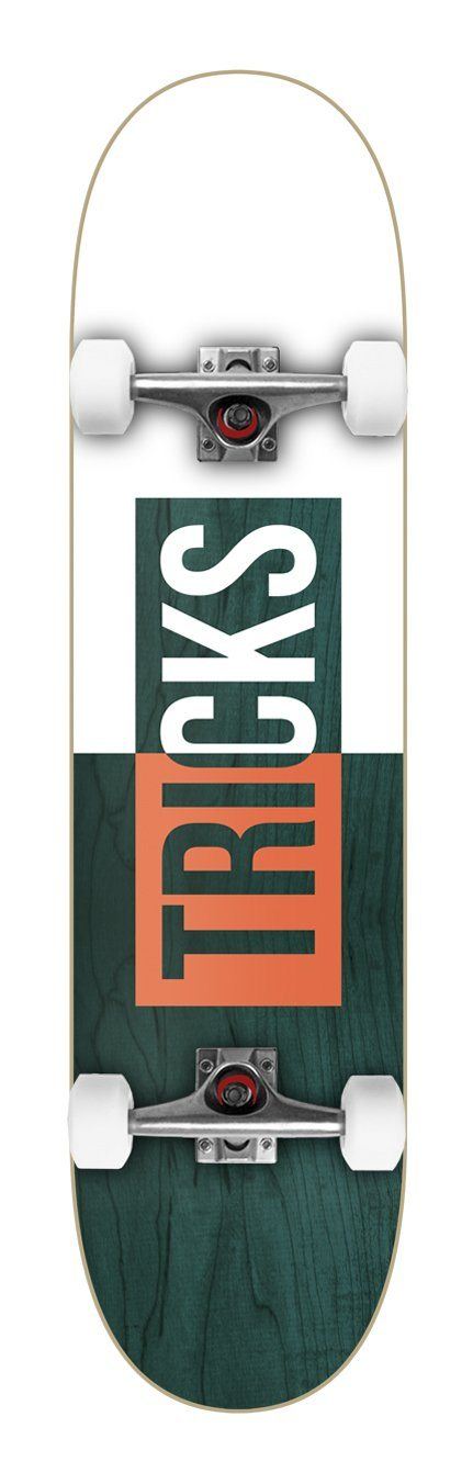 "Tricks Skateboards Logo Complete Skateboard 7.75"", White/Green Complete Skateboards Tricks"