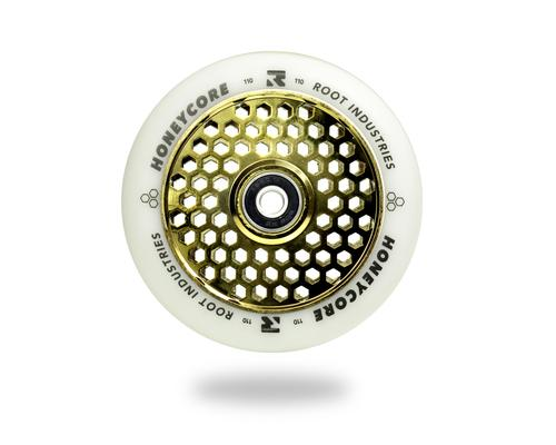 Root Industries Scooters Honeycore Stunt Scooter Wheels 110mm, White/Gold Scooter Wheels Root Industries