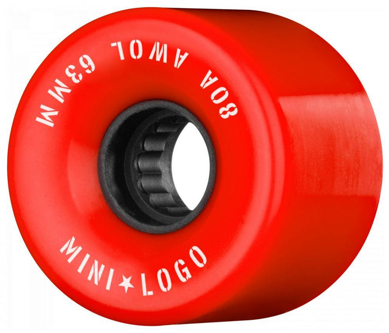 Mini Logo Cruiser / Penny Board Wheels 4 Pack - Red 63mm Longboard Wheels Mini Logo
