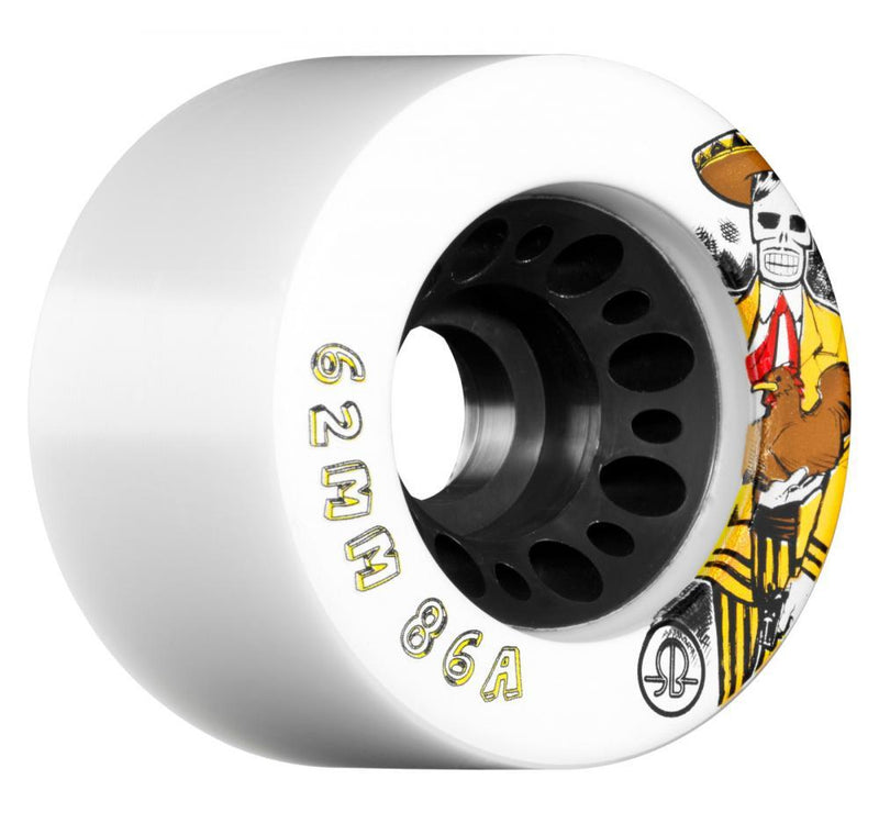 Rollerbones Quad Skate Wheels Day of the Dead 86a pk4 62mm, White Quad Skates Rollerbones